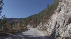 Journey through autumn mountain Stock Footage