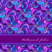 Stock Illustration of Violet, lilac and blue peacock feathers pattern. Horizontal strip design.