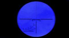 Sniper scope or optical sight on a blue screen - stock footage