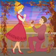 Marriage Proposal. Man Give Ring To His Girl Stock Illustration