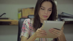 Young Attractive European women a secretary working with tablet in modern office Stock Footage