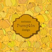Golden autumn background with seamless pumpkin pattern and retro label. - stock illustration