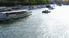 Transportation in  River Seine UltraHD Stock Footage