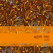Twigs pattern. Orange brown background with strip design. Text place. - stock illustration