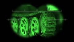 World War 2 vehicle viewed through binoculars Stock Footage