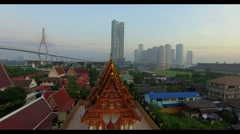 Aerial view by drone shot over bangkok thialand capital Stock Footage