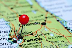 Tampa pinned on a map of USA Stock Photos