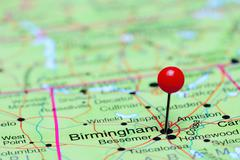 Birmingham pinned on a map of USA Stock Photos