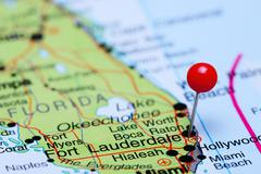 Fort Lauderdale pinned on a map of USA Kuvituskuvat