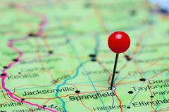 Springfield pinned on a map of USA Stock Photos