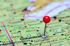 Columbus pinned on a map of USA - stock photo