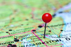 Dover pinned on a map of USA Stock Photos