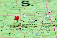 Oklahoma City pinned on a map of USA Stock Photos