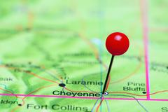 Cheyenne pinned on a map of USA Stock Photos