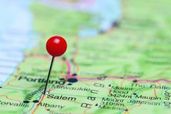 Salem pinned on a map of USA - stock photo