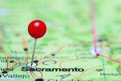 Sacramento pinned on a map of USA Stock Photos