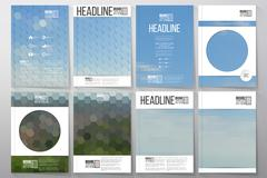 Business templates for brochure, flyer or booklet. Nature landscape. Collection - stock illustration