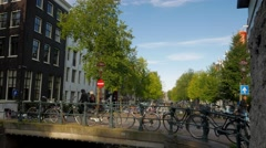 Pan from the Brouwersgracht to Singel Amsterdam Stock Footage