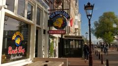 Bulldog Coffeeshop on Singel Canal in Amsterdam - stock footage