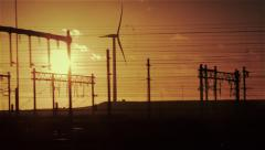 Powerlines silhouettes in sunset, driveby, graded - stock footage