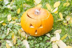 Halloween scary pumpkin with a smile in autumn garden - stock photo