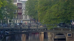 Pedestrian Footbridge over Brouwersgracht Canal Stock Footage