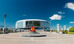 The building of the sports complex Minsk Arena in Minsk, Belarus Stock Photos