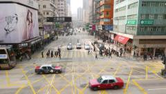 Street intersection traffic, people and vehicle move on green light. Top view Stock Footage