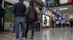 Arriving by train at the Jamsil Station of the Seoul Subway (Line 2). - stock footage