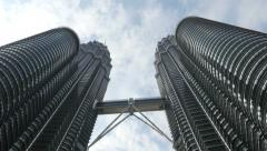 4k skyscraper kuala lumpur petronas towers business centre tall malaysia pan Stock Footage