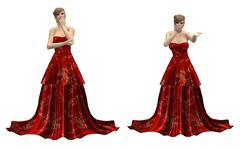 Stock Illustration of Beautiful woman in red dress