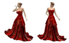 Beautiful woman in red dress - stock illustration