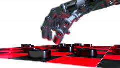 Stock Video Footage of Robot hand playing checkers, 3D animation
