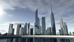 Animated skyline of a modern city Stock Footage