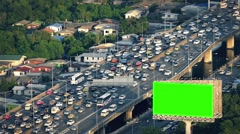 Greenscreen Billboard By Busy Highway - stock footage