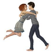 Teenage couple in love - stock illustration