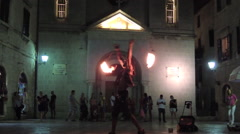 Fire dancer in historical town of Kotor Stock Footage