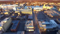 Beautiful Downtown Green Bay Wisconsin at Sunrise, Aerial Tour Stock Footage