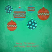 Christmas balls greeting card with wish Merry Christmas and happy New year Stock Illustration