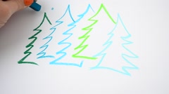Fir-trees in the wood, drawing Stock Footage