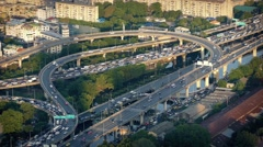 Circular Road System In City At Rush Hour Stock Footage