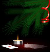 tree, small candle and cards - stock illustration