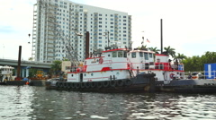 Tug boats on the Miami River Stock Footage