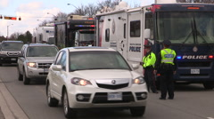 Toronto Ontario police RIDE program drunk driving spotcheck Stock Footage