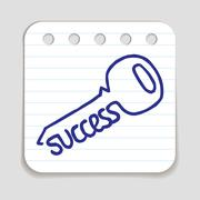 Doodle Key to Success icon - stock illustration