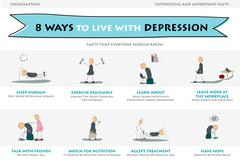 Eight ways to live with depression - stock illustration