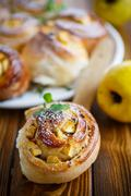 Sweet rolls with quince Stock Photos