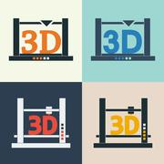 3D printer vector icons set Piirros