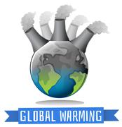 Global warming theme with earth and factory - stock illustration
