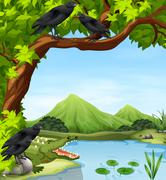Crows and crocodile by the river Stock Illustration